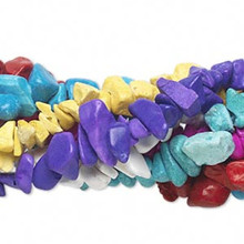 "Seven 35"" Strands Chalk Turquoise Gemstone Chip Beads Mix *"