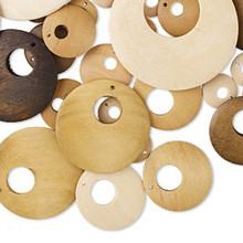 50 Assorted Wood Go-Go Disc Charm Beads ~  15-55mm Mix