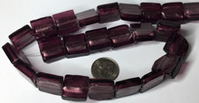 1 Strand Amethyst Purple Lampwork Glass  Square Foil Beads ~ 15mm *