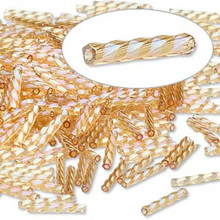 50 grams Matsuno Twist Tube Aurora Borealis Rainbow Gold Spiral Bugle Beads ~ 12mm