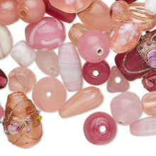 100 grams PINK Fancy Glass Lampwork Bead Mix