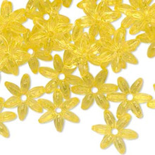 1000 Transparent Yellow Acrylic Star Flake Snowflake Paddle Beads  ~ 12x12mm *