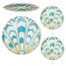 3 Piece Set Cloisonne Turquoise Blue & White Flat Round Coin Beads
