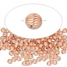 100 Round Solid Copper Corrugated Beads ~ 3mm