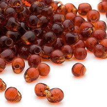 10 Grams Teardrop Fringe Glass Beads ~ 4x3.4mm ~ Dark Amber Yellow