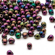 10 Grams Teardrop Fringe Glass Beads ~ 4x3.4mm ~ Gunmetal Dark Wine