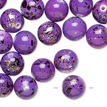 170 Purple with Speckles Round Acrylic Beads ~ 10mm *
