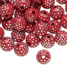 100 Red Acrylic Round Beads with Silver Accent ~ 10mm