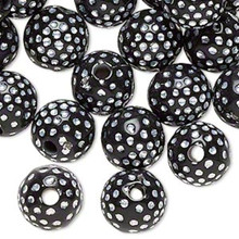 100 Black Acrylic Round Beads with Silver Accent ~ 10mm