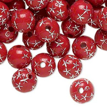 100 Red Acrylic Round Beads with Silver Star Accent ~ 8mm