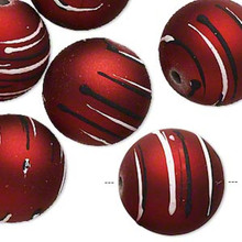 10 Red Acrylic Round Beads with Rubberized Accent ~ 20mm *