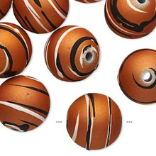 20 Burnt Orange Acrylic 16mm Round Beads with Rubberized Accent *
