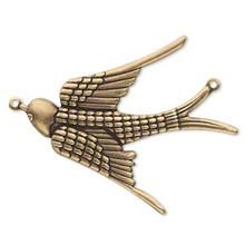4 Antiqued Brass Soaring Sparrow Bird Connectors ~  38x32mm