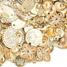 100 Grams Gold Plated Brass Component Mix ~ Approx 585-600 Pieces  *