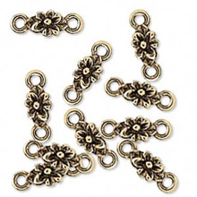 10 Antiqued Gold Plated Pewter Flower LINKS ~ 6x16mm  *