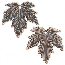 12 Antiqued Copper Plated Pewter Maple Leaf Charms ~ 27x26x1mm