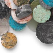 100 Multi Gemstone Flat Round Coin Bead Mix ~ 10-21mm
