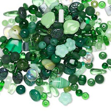 1/4 lb Czech Pressed Glass Green Bead Mix ~Multi Shapes & Colors