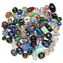 250 Grams Lampwork Glass Bead Mix ~Multi Shapes & Colors