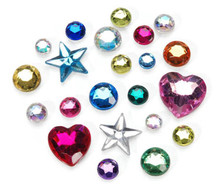 3/4 Pound Acrylic Rhinestone Multi Colored Gem Color & Shape Mix