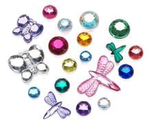3/4 Pound Acrylic Rhinestone Multi Colored Gem Color & Shape Mix ~ ButterFly & More