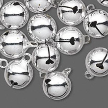 25  Silver Brass Jingle Bells with Clappers  ~ 12mm with 2mm Top Loop