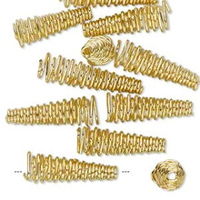 12 Gold Plated Brass Spiral Cone Terminators ~ 19x6mm-23x6mm