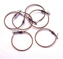 10 Antiqued Copper Plated Brass Leverback Hoop Earrings  ~ 40mm *
