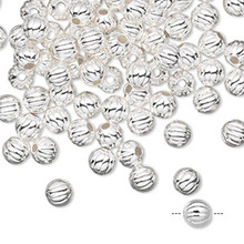100 Silver Plated Brass Round Corrugated Beads  ~ 5mm