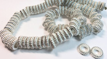 1 Strand Silver Plated Brass Donut Twist Rondelle Beads ~ 2x8mm *