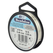 "10 Foot Spool Beadalon 49 Strand Beading WIRE ~ 0.018""  ~ Silver Plated"