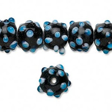 "16"" Strand Bumpy Black White Blue Lampwork Glass Beads ~ 10mm *"