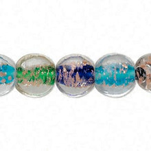 1 Strand Lampwork Glass Multi Color Puffed Flat Round Beads ~ 12mm