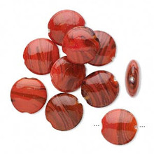 10 Glass Amber & Red with Swirls Puffed Flat Round Beads ~ 22mm *