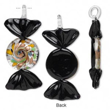 2 Glass Black & Silver Foil Candy Pendant Charms ~ 68x29mm  *