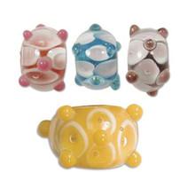 1 Strand Lampwork Glass Multi Color & Clear Bumpy Lattice Rondelle Bead MIX  ~  9x14mm *