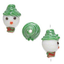 2 Lampwork Glass Snowman Head with Green Hat Beads ~ 18x12mm