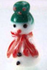 1 Strand Lampwork Glass White SnowMan Beads ~ Winter Snow Man ~ 12x25mm NP