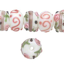 20 Lampwork Glass Rondelle White Pink Black Bumpy Beads ~ 13x8mm-15x11mm