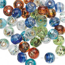 50 Lampwork Glass Foil Round Bead Mix ~ 6mm