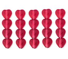 100 Czech Pressed Glass 6mm Heart Beads ~ Transparent Fuchsia