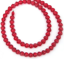 100 Czech Pressed Glass 6mm Heart Beads ~ Transparent Siam Red