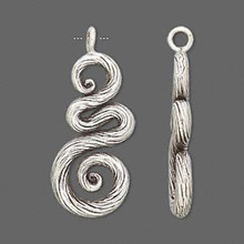 1 Antiqued Sterling Silver Twisted Swirl Pendant Charm ~  30x14mm  *