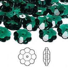 12 Swarovski Marguerite Lochrose Flower Crystal Beads ~ 12x4mm Emerald Green ~ 3700