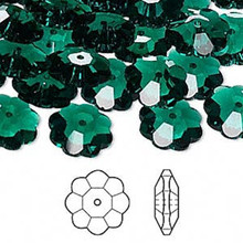 12 Swarovski Marguerite Lochrose Flower Crystal Beads ~ 10x3.5mm Emerald Green ~ 3700