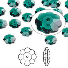 12 Swarovski Marguerite Lochrose Flower Crystal Beads ~ 8x3mm Emerald Green ~ 3700