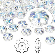 12 Swarovski Marguerite Lochrose Flower Crystal Beads ~ 8x3mm Crystal AB ~ 3700