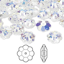 12 Swarovski Marguerite Lochrose Flower Crystal Beads ~ 10x3.5mm Crystal AB ~ 3700
