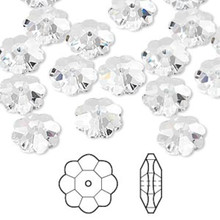 12 Swarovski Marguerite Lochrose Flower Crystal Beads ~ 10x3.5mm Crystal  ~ 3700