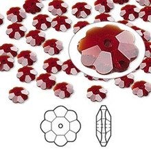 12 Swarovski Marguerite Lochrose Flower Crystal Beads ~ 6x2mm Siam Red ~ 3700 *